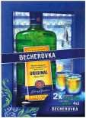 Becherovka 0,7l - kazeta 2 skleničky