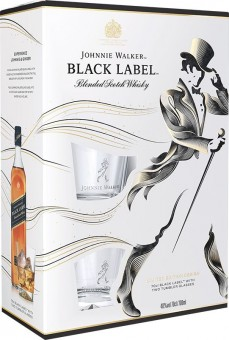 Johnnie Walker Black label 12 let 0,7l - kazeta 2x sklo