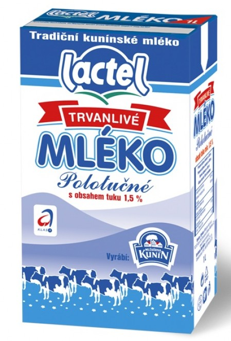 Kunín mléko trvanlivé polotučné 1,5% 1l