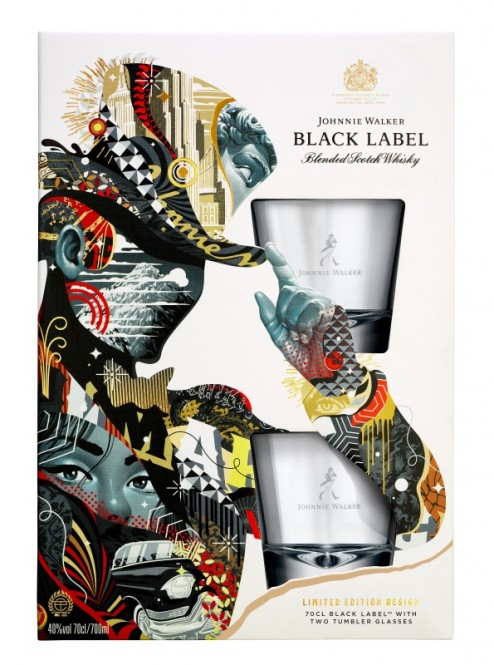 Johnnie Walker Black label 12 let 0,7l - kazeta 2x sklenička