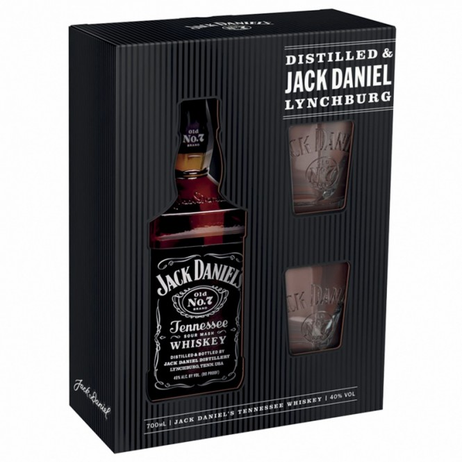 Jack Daniels Tennessee Whiskey 0,7l kazeta + 2 sklenice