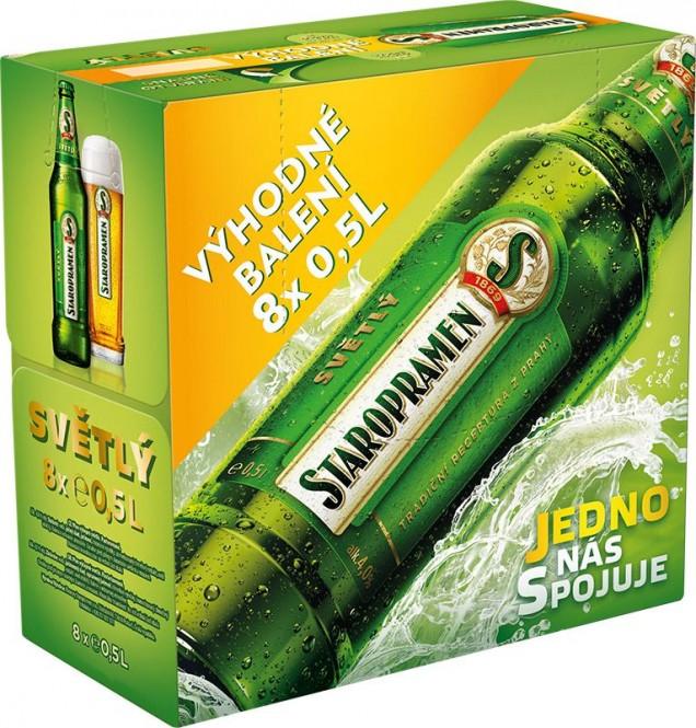 Staropramen světlý multipak 8 x 0,5l - vratná lahev