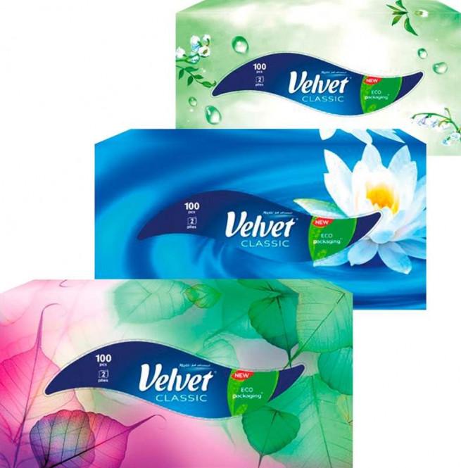 Papírové kapesníčky Velvet box 2vr. 100ks