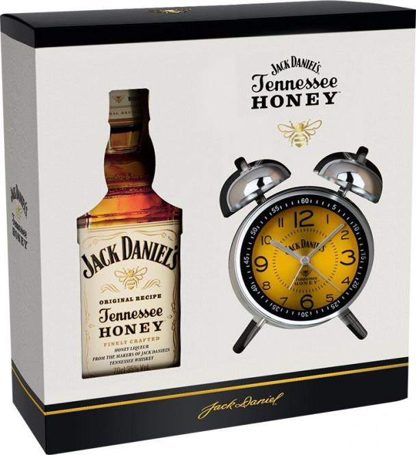 Jack Daniels Tennessee Honey 0,7l kazeta + budík
