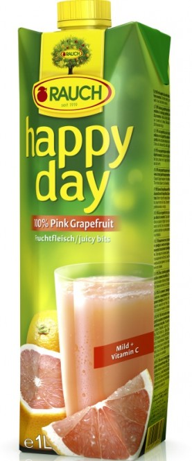 Rauch Happy day růžový grapefruit 100% 1l