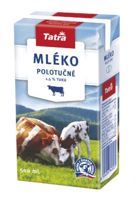 Tatra mléko polotučné 0,5l - 1,5% (12 ks)