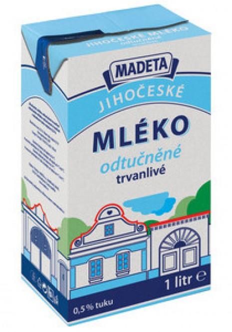 Jihočeské mléko trvanlivé odtučněné 0,5% 1l (12 ks)