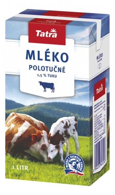 Tatra mléko polotučné 1l - 1,5% (12 ks)