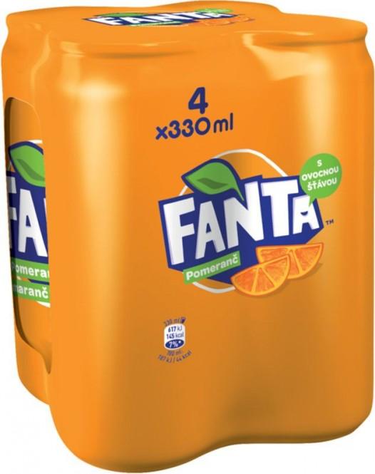 Fanta pomeranč 4 x 0,33l multipack - plech