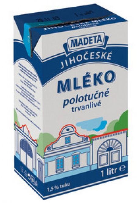 Jihočeské mléko trvanlivé polotučné 1,5% 1l (12 ks)
