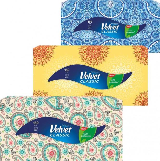 Papírové kapesníčky Velvet box 2vr. 150ks