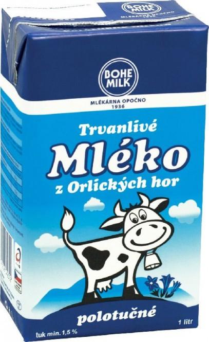 Bohemilk mléko trvanlivé polotučné 1,5% 1l