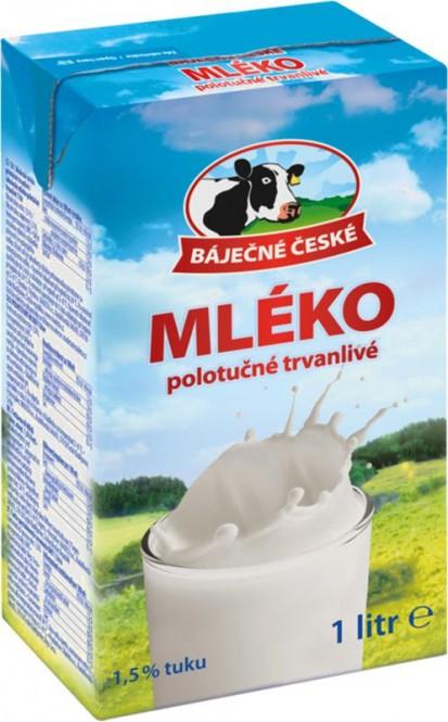 Báječné české mléko trvanlivé polotučné 1,5% 1l