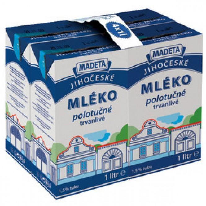 Jihočeské mléko trvanlivé polotučné 1,5% 4 x 1l